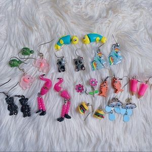 Girls Lot Claires Dangle Earrings 12 Pairs Bling